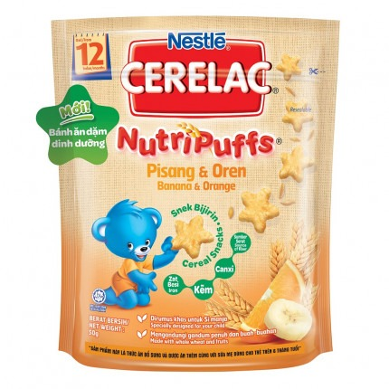 Bánh ăn dặm dinh dưỡng – Nestlé CERELAC Nutripuffs vị Chuối Cam