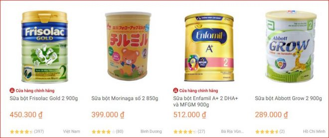 Loại sữa cho bé sơ sinh bán chạy nhất