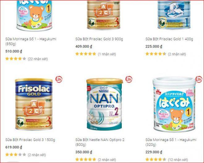 Sữa cho trẻ sơ sinh bán chạy nhất trên Tiki