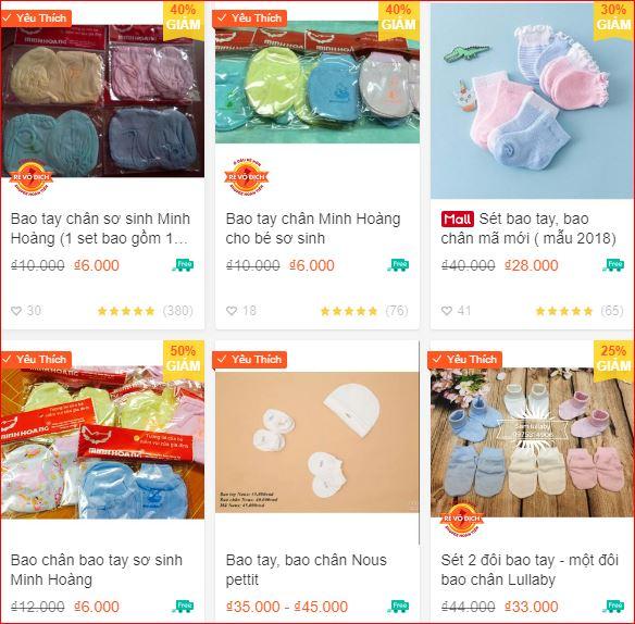 Bao tay bao chân giá rẻ cho trẻ sơ sinh tại Hà Nội
