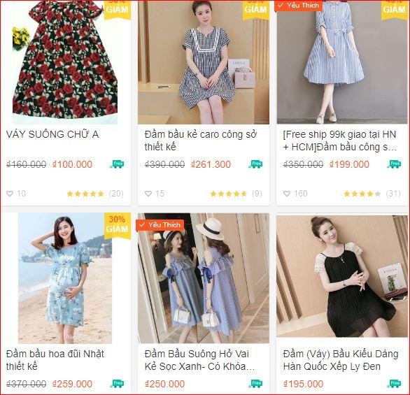 Các mẫu đầm bầu đẹp giá rẻ tại Hà Nội