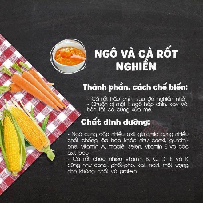 Món ăn dặm cho bé 6 tháng tuổi Ngô và cà rốt nghiền
