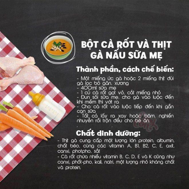 Món ăn dặm cho bé Bột cà rốt thịt gà nấu sữa mẹ