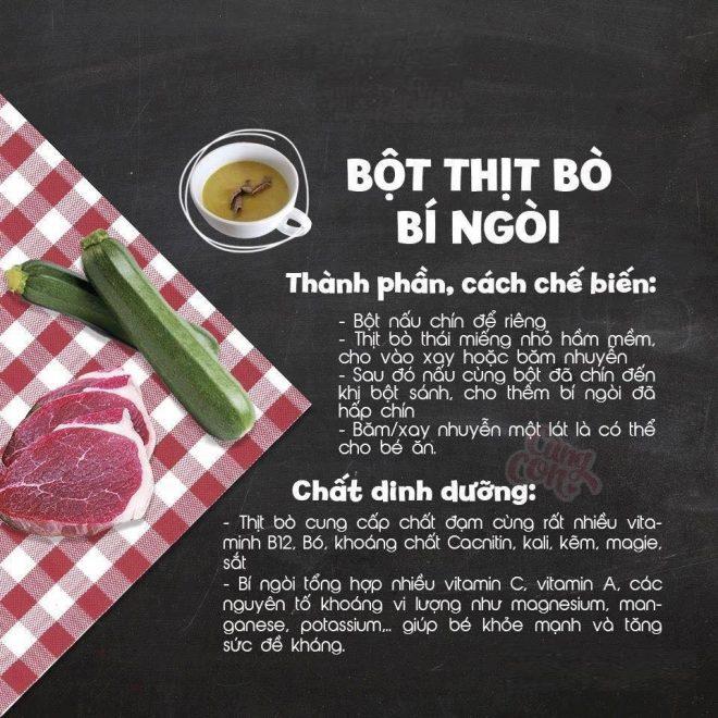 Món ăn dặm cho bé Bột thịt bò bí ngòi