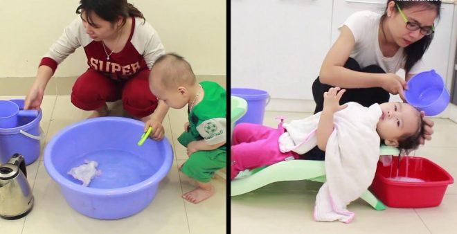 Cách dùng ghế gội đầu cho bé