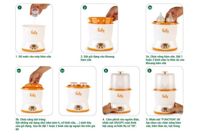 Cách sử dụng Máy hâm sữa 2 bình cổ rộng