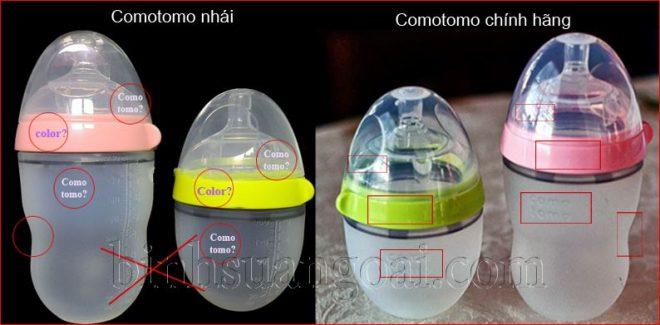 Logo comotomo giúp phân biệt bình sữa chính hãng và nhái