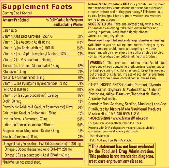 Thành phần thuốc Prenatal DHA