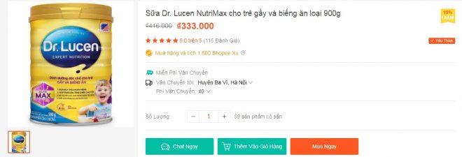 nh giá 5 sao trên Shopee cho Sữa Dr. Lucen NutriMax cho trẻ gầy và biếng ăn loại 900g