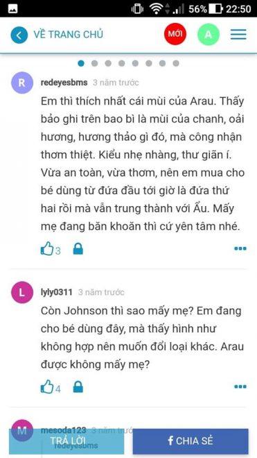 đánh giá của các mẹ trên webtretho khi sử dụng arau baby