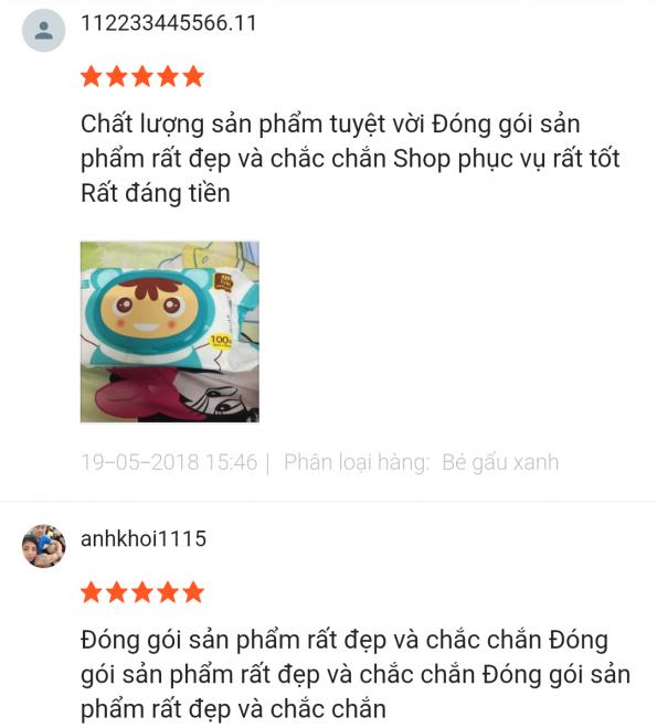 Phản hồi khách hàng sử dụng trên shopee