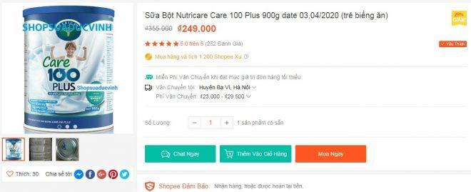 252 đánh giá 5 sao trên Shopee cho Sữa Bột Nutricare Care 100 Plus 900g dành cho trẻ biếng ăn