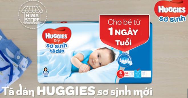 Tã dán Huggies sơ sinh mới.