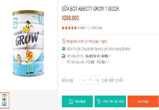phan hoi kh khi mua abbott grow 1 tren shopee