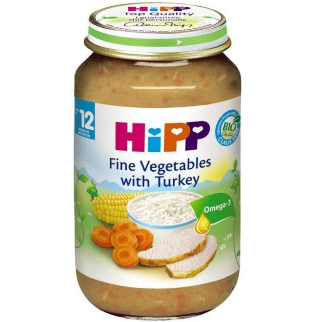 Dinh dưỡng đóng lọ cơm nhuyễn, gà tây, rau tổng hợp