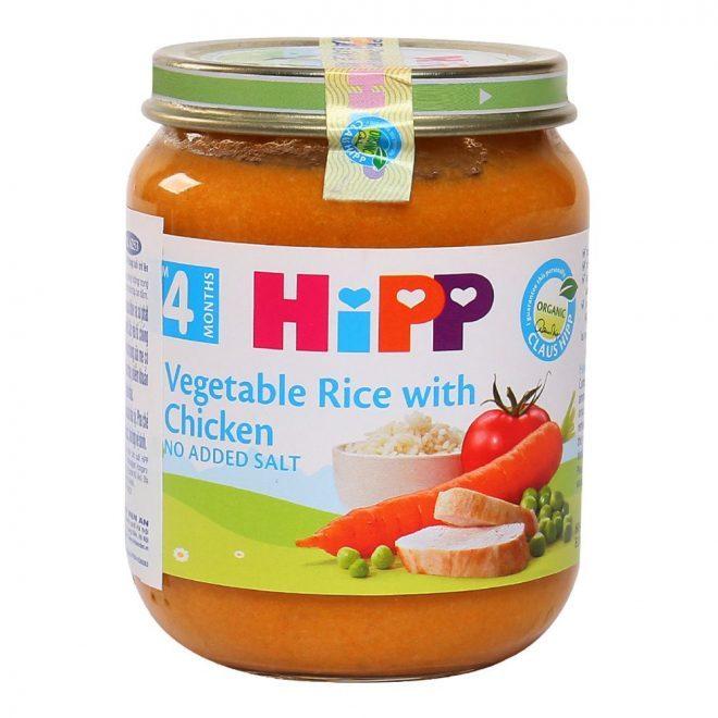 Dinh dưỡng đóng lọ thịt gà, cơm nhuyễn, rau tổng hợp