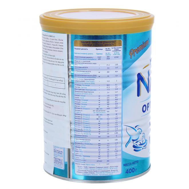 Thông tin dinh dưỡng của sữa Nan nga số 1