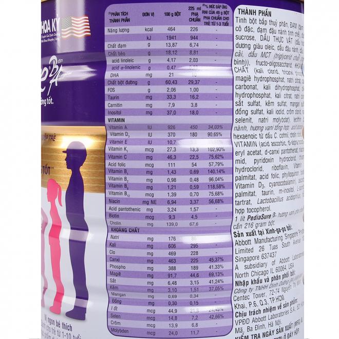 Thông tin Sữa Pediasure BA