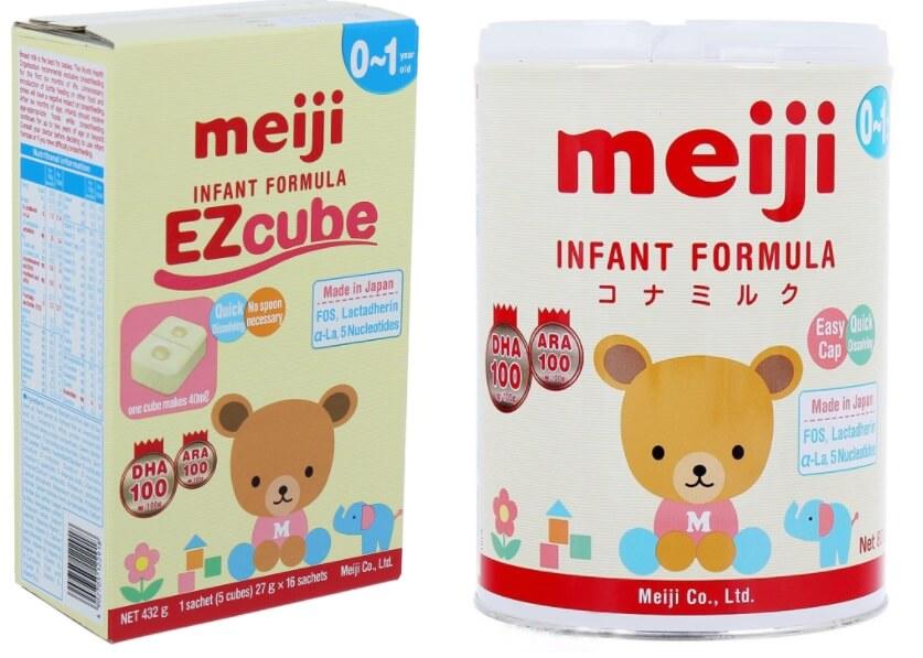 Sữa Meiji số 0 cho trẻ từ 0 12 tháng dạng thanh và dạng hộp thiếc