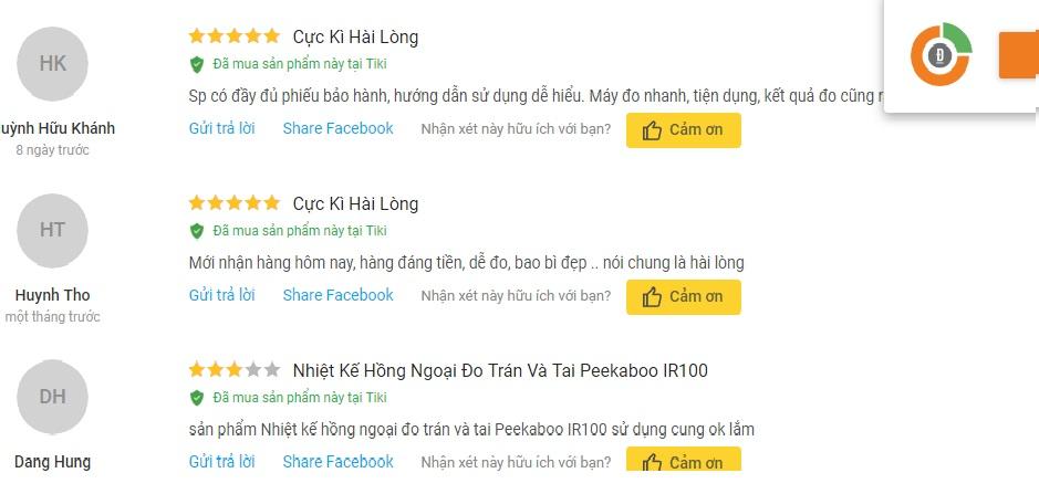 Đánh giá của người dùng nhiêt kế hồng ngoại Peekaboo trên TIKI