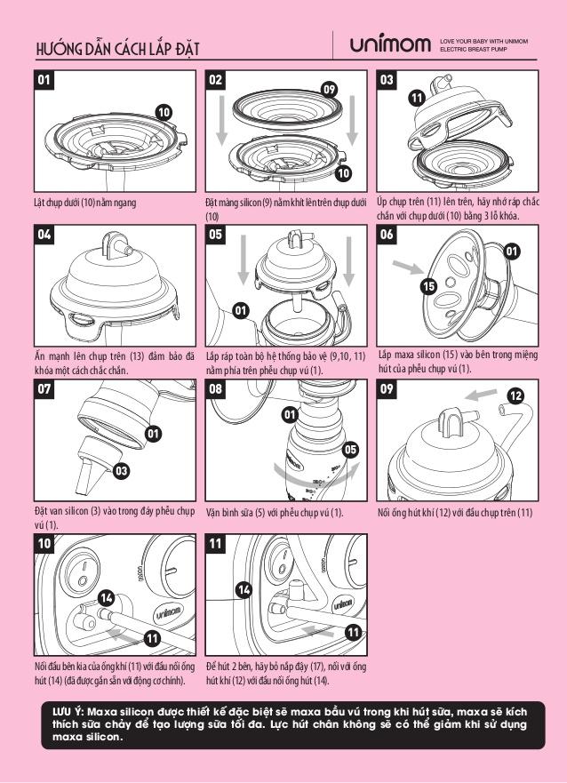 Cách lắp ráp Máy hút sữa Unimom Forte