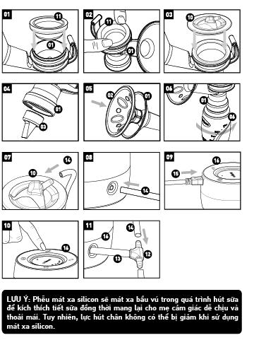 Cách lắp ráp máy hút sữa Unimon Minuet
