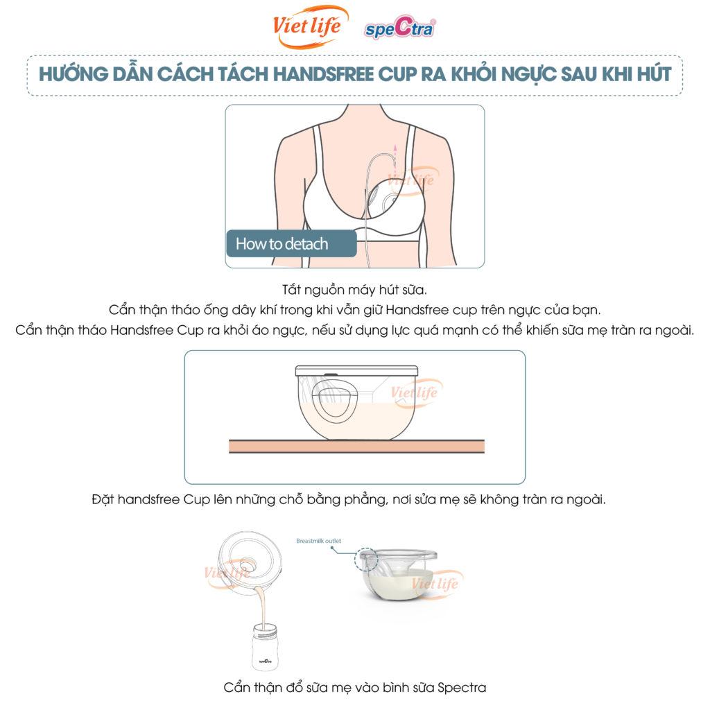 Cách tách Spectra Handsfree Cup sau khi bơm sữa
