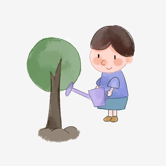 bé trồng cây xanh