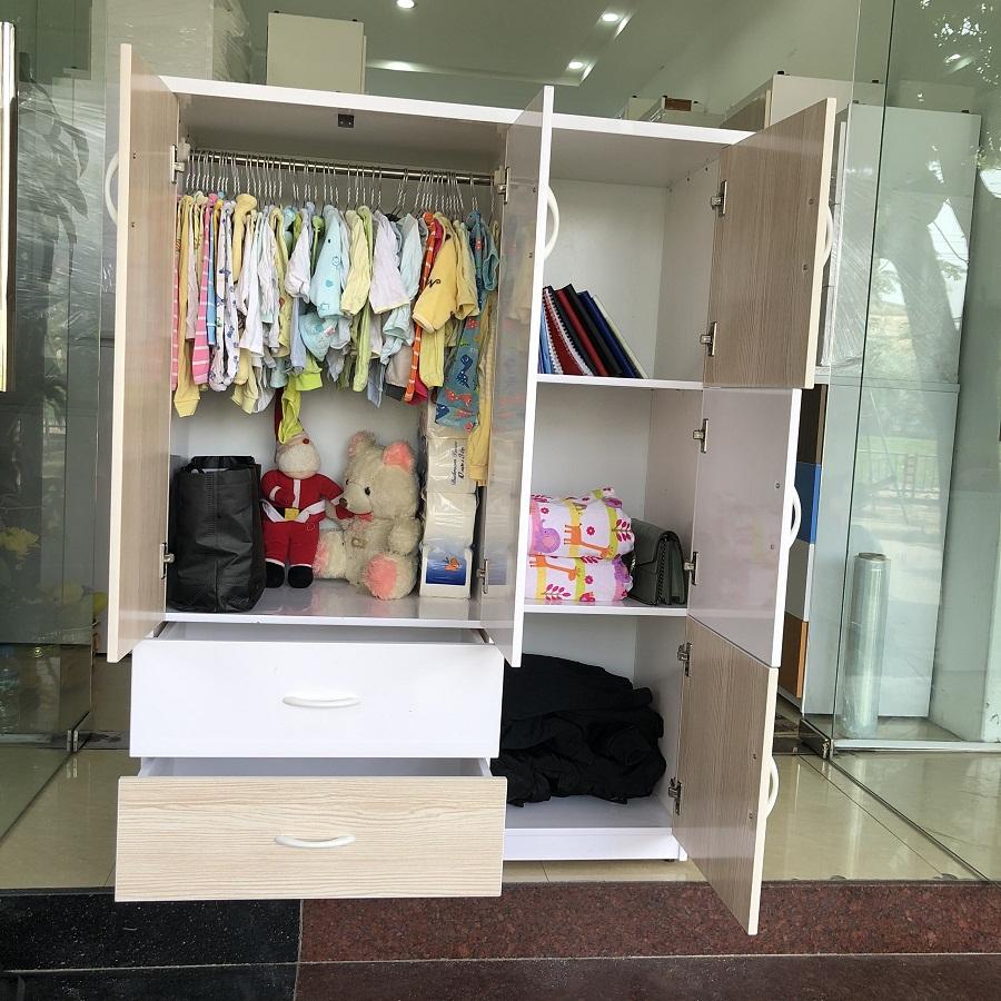 Tủ áo quần Jang Mi MRA có 6 ngăn rộng đựng được nhiều đồ hơn