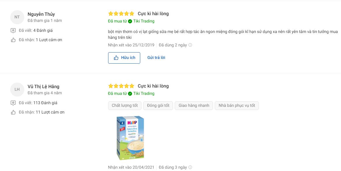 Đánh giá của người mua về bột ăn dặm Hipp