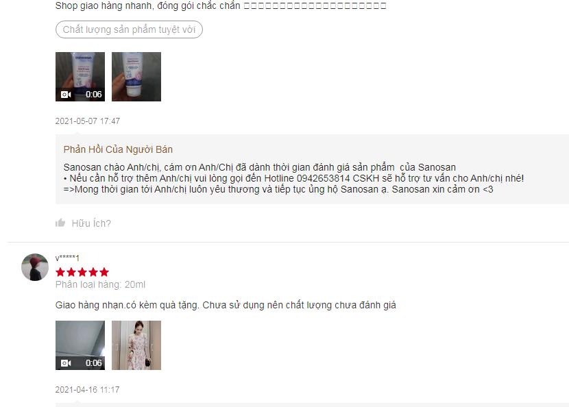 Đánh giá người mua về sản phẩm Sanosan trên shopee