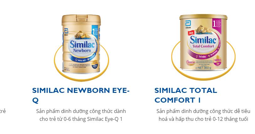 Sữa Similac dành cho bé dưới 1 tuổi
