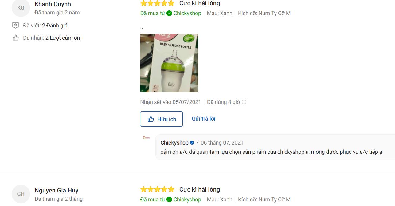 Đánh giá người mua về bình sữa Silicon cổ siêu rộng Fatzbaby