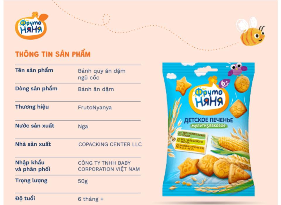 Bánh quy ăn dặm ngũ cốc Frutonyanya của Nga